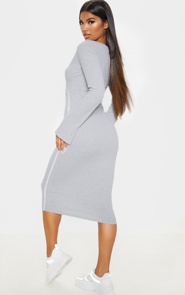 Grey Rib Contrast Trim Cut Out Long Sleeve Midi Dress 2