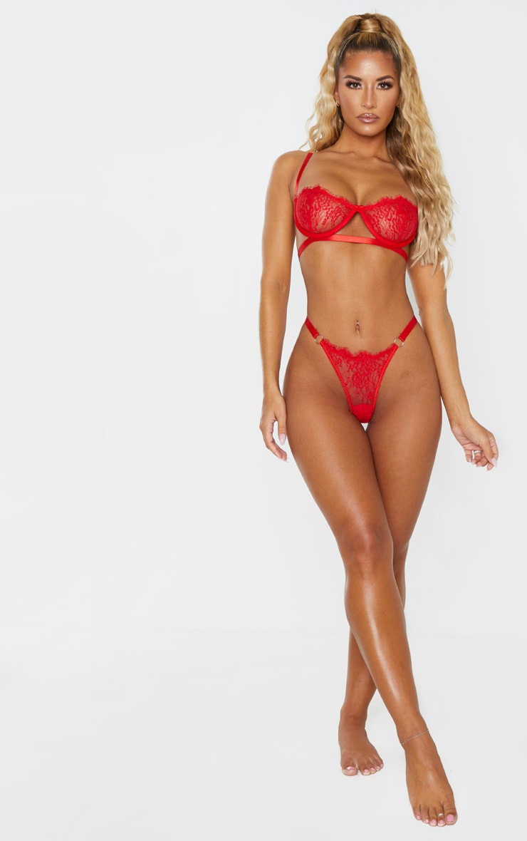 Red Ring Detail Underwired Lingerie Set 1