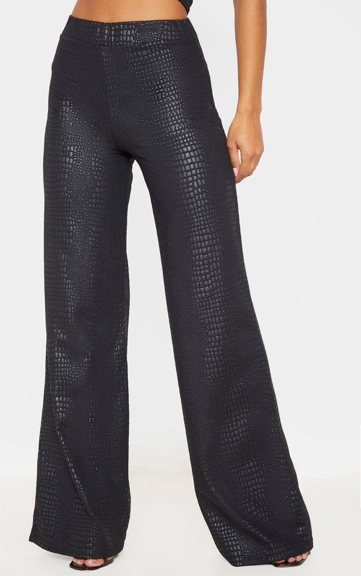 Black Croc Print Wide Leg Trouser 2
