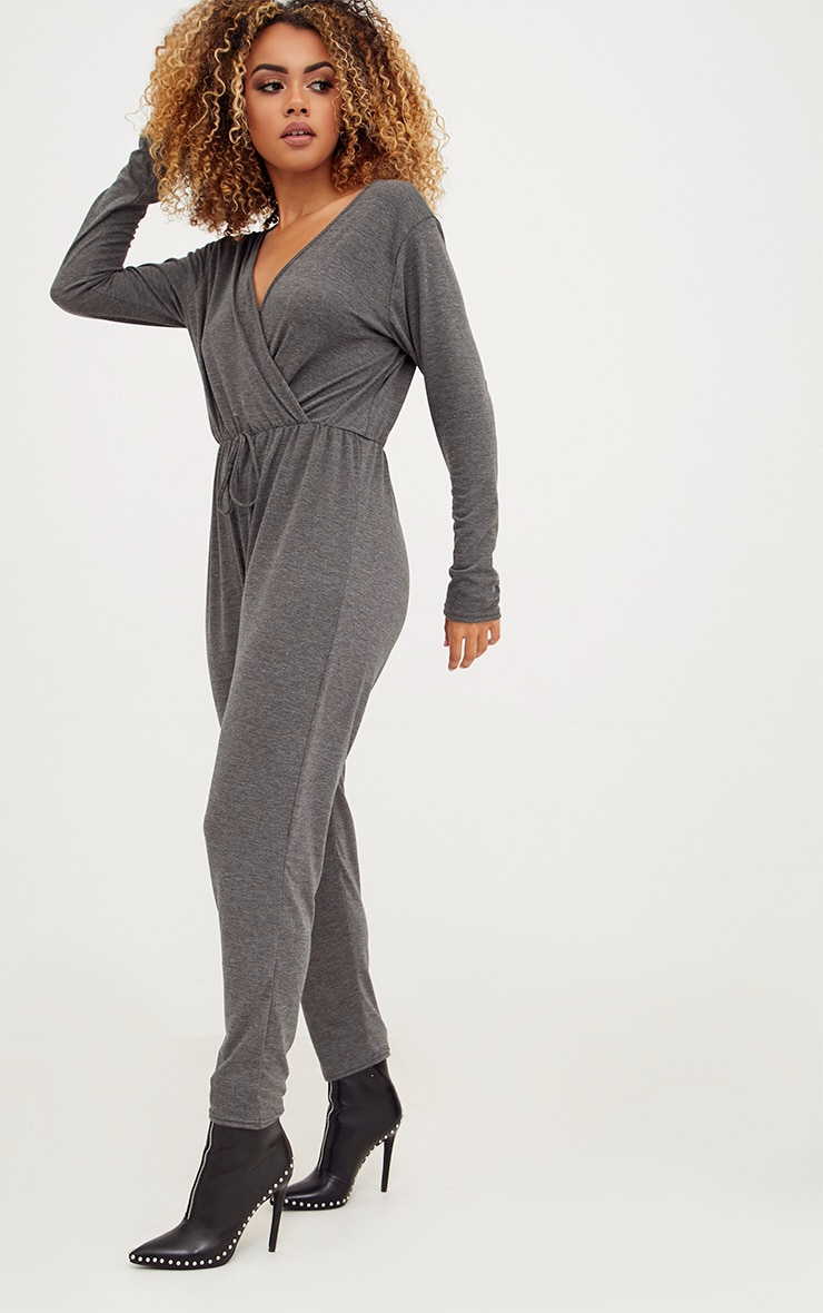 Charcoal Jersey Long Sleeve Wrap Jumpsuit 4