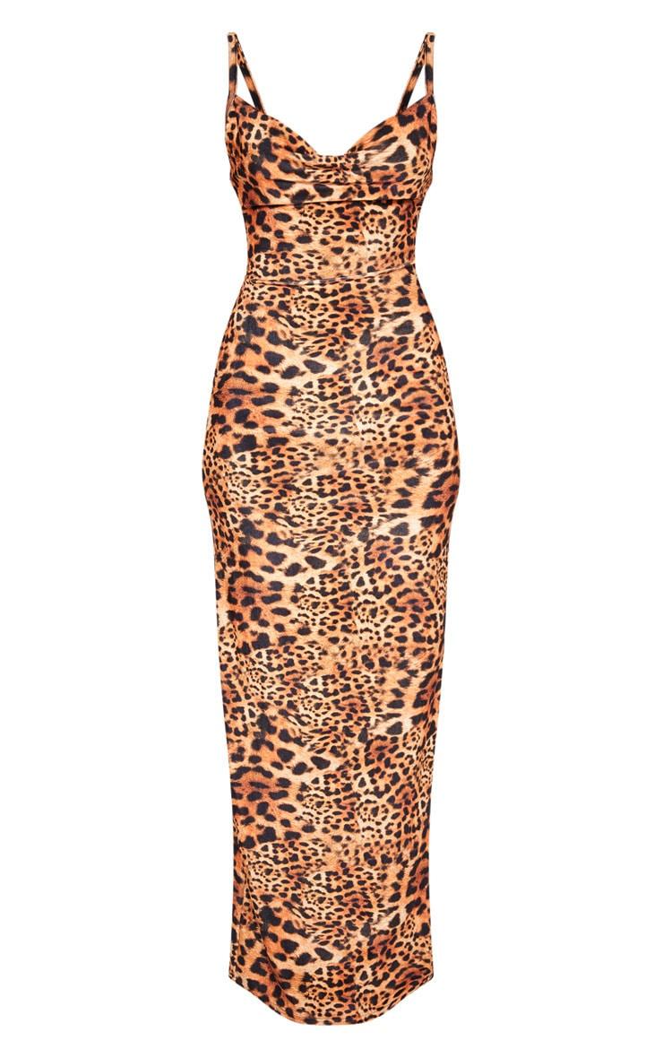 Tan Velvet Leopard Print Strappy Maxi Dress 3