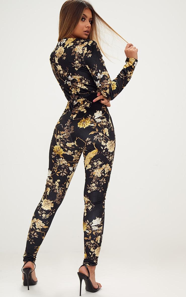 Black Floral Velvet Jumpsuit  2