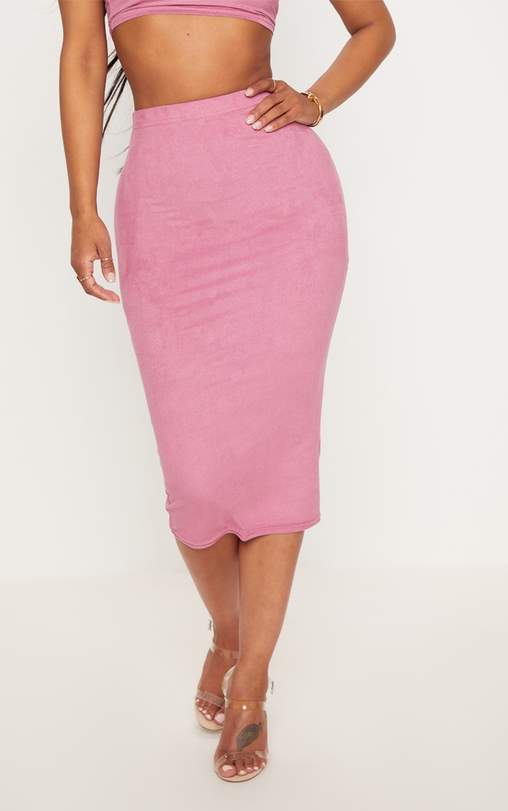 Shape Rose Faux Suede Midi Skirt 2