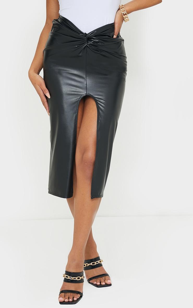 Black Faux Leather Twist Front Midi Skirt 2