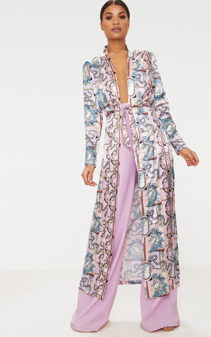 Pink Chain Silky Duster Coat