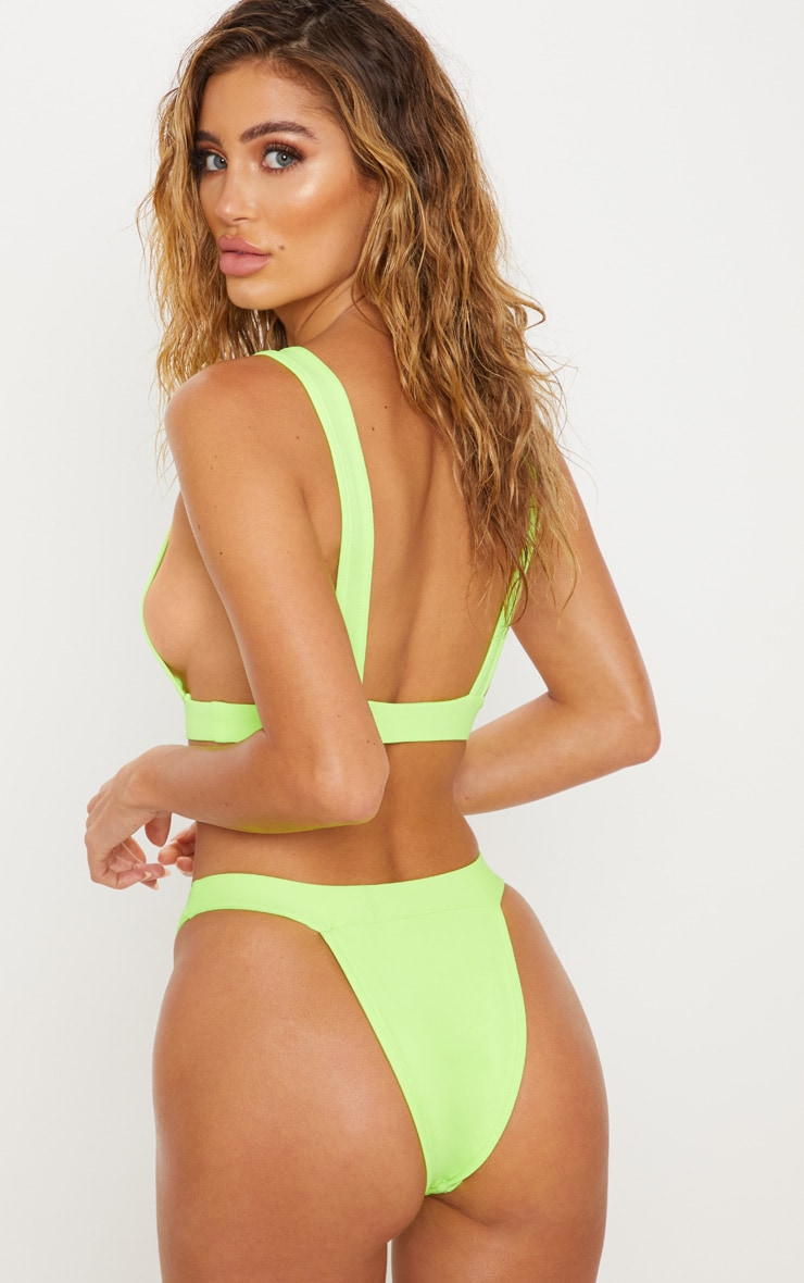 Lime Side Boob Scoop Neck Bikini Top 2