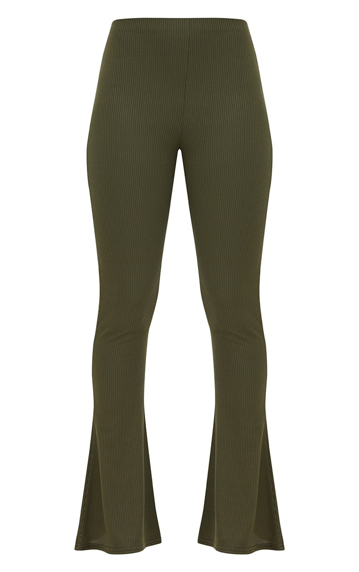 Khaki Ribbed Flared Pants 3
