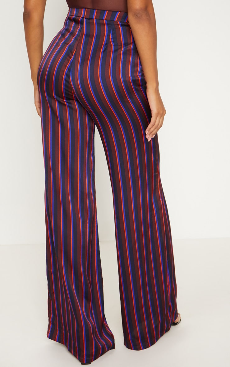 Burgundy Stripe Wide Leg Suit Pants 4