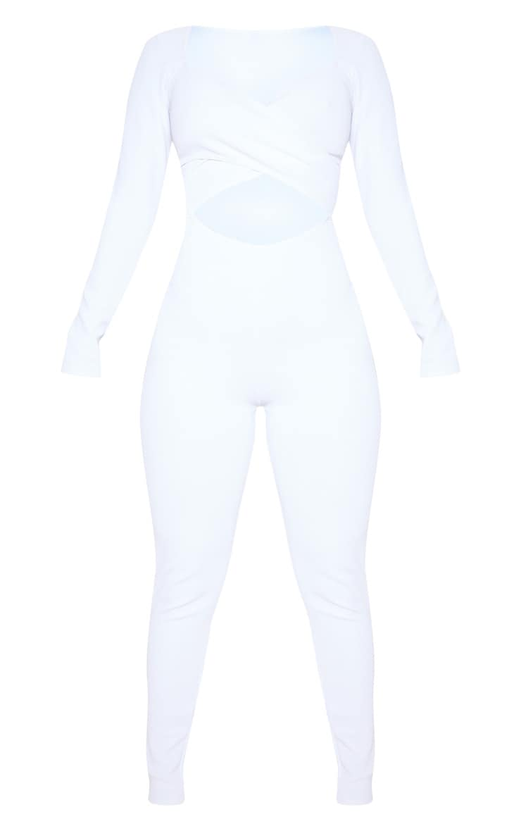 White Rib Cross Over Long Sleeve Jumpsuit 3