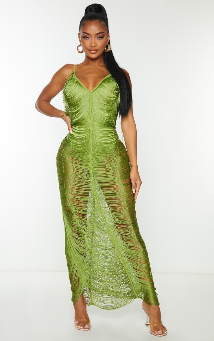 Shape Olive Fringe Detail Midaxi Dress 1