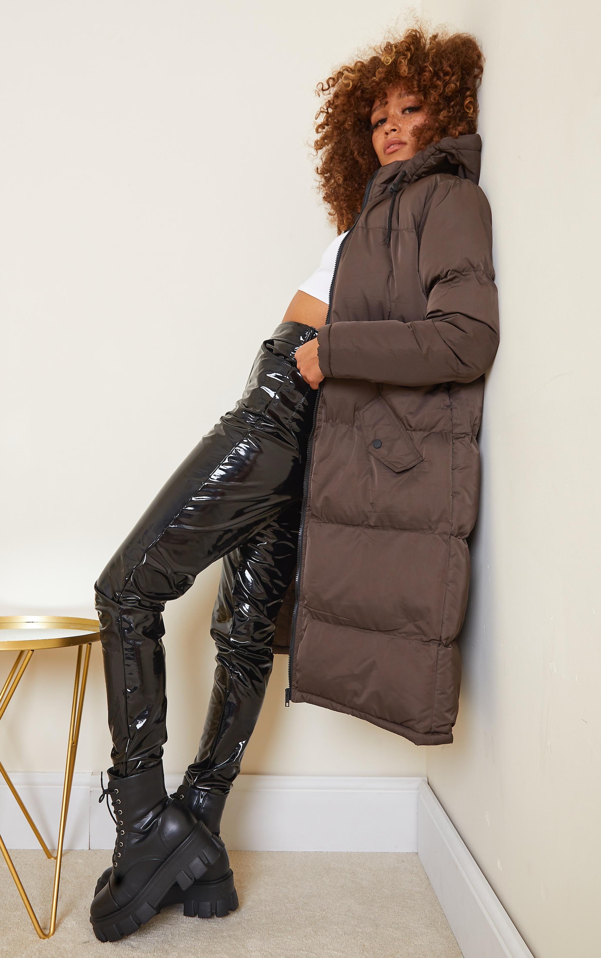 Chocolate Hooded Midi Puffer Coat 3