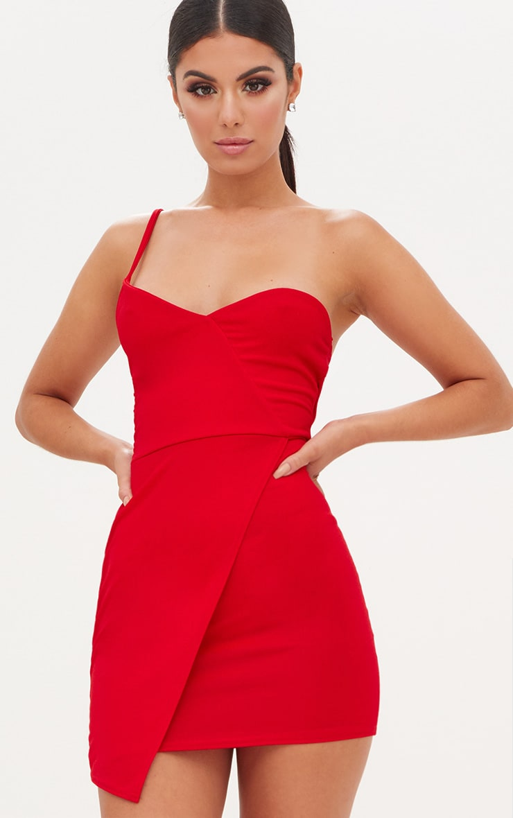 Red Wrap One Shoulder Bodycon Dress Dresses