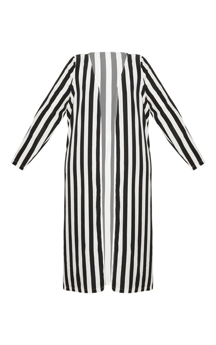 Plus Black Striped Longline Duster Jacket 3