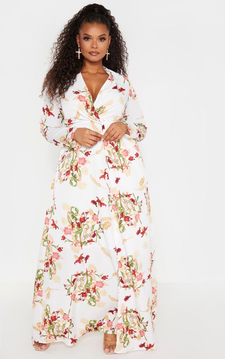 Plus White Oriental Twist Front Maxi Dress  1
