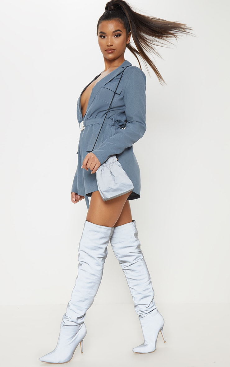 Dusky Blue Belt Detail Plunge Utility Playsuit 4
