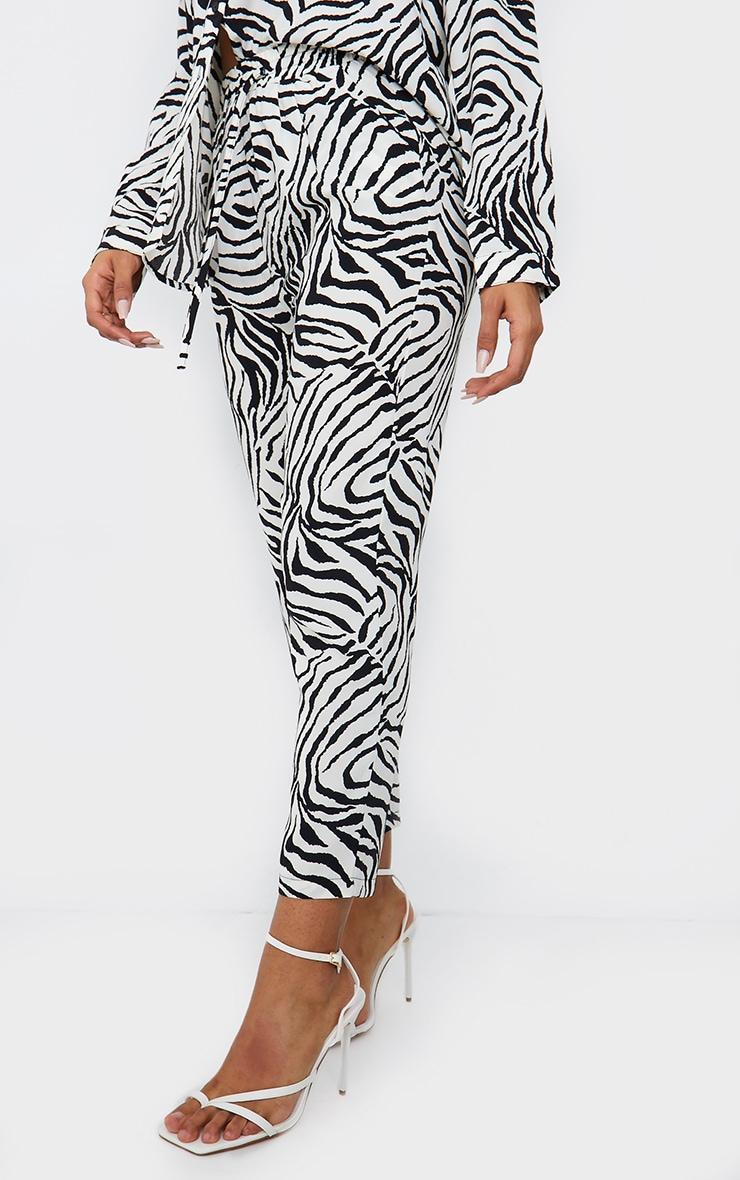 Black Zebra Print Cigarette Trousers 2
