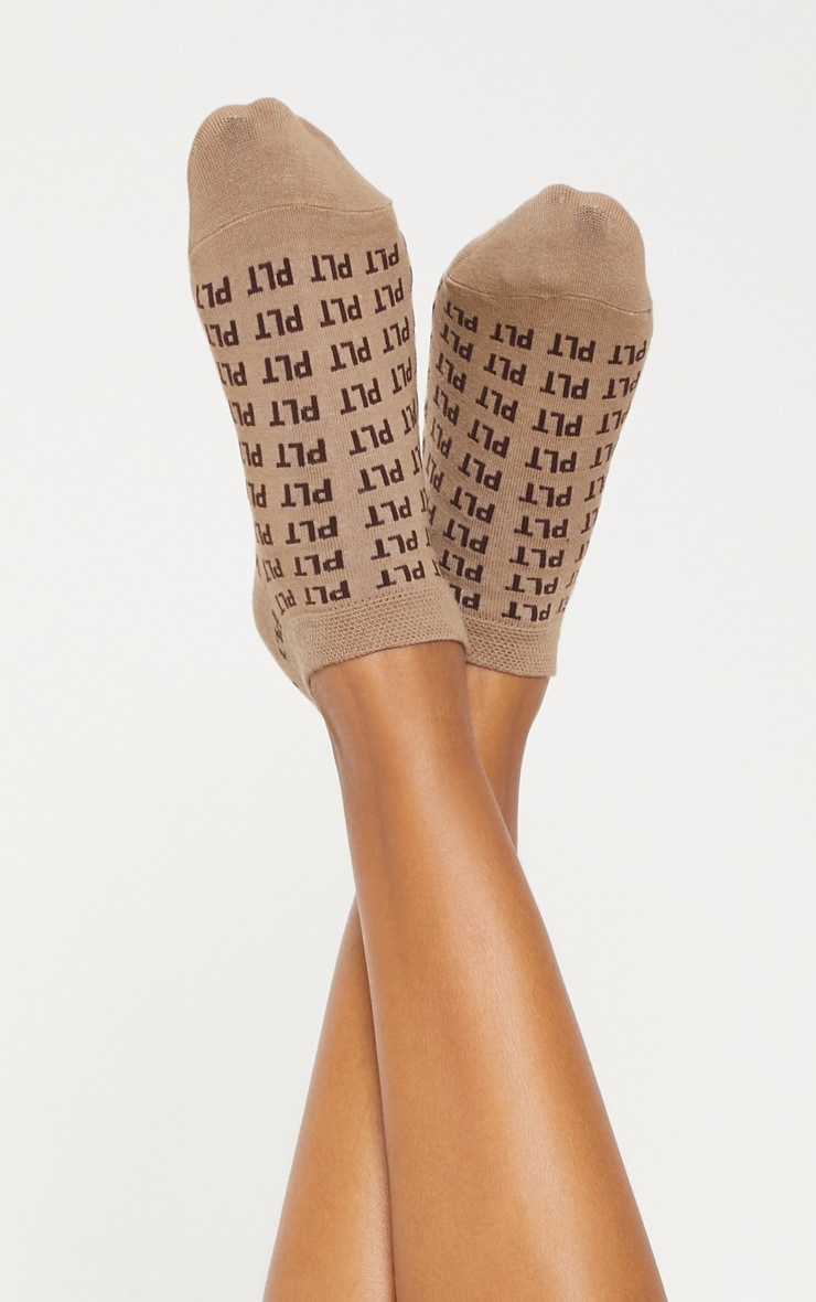 PRETTYLITTLETHING Light Brown Mono Trainer Socks 2