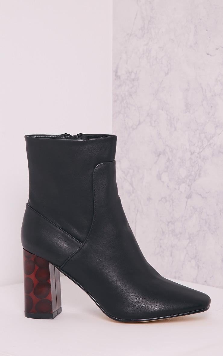 Tammi Black PU Tortoise Shell Heel Ankle Boots 3