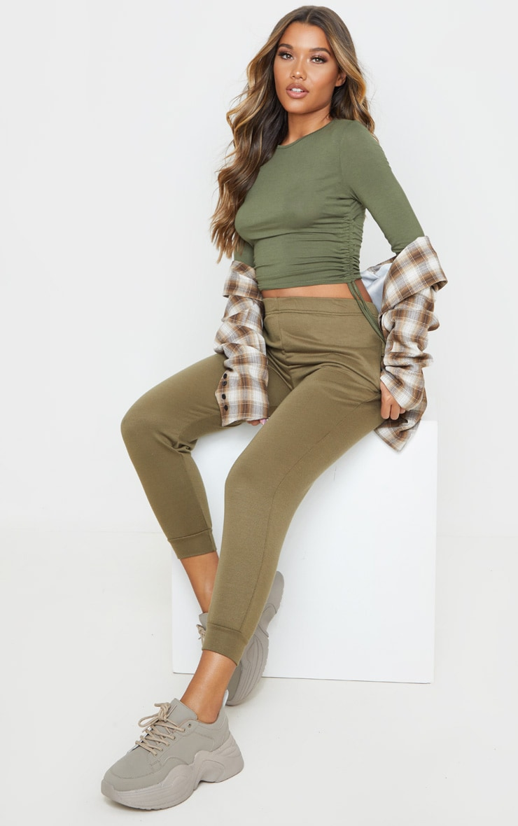Sage Khaki Jersey Ruched Side Long Sleeve Top 4