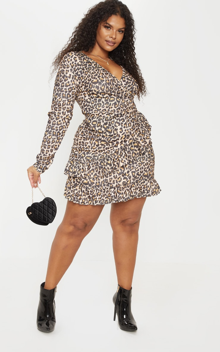 PLT Plus - Robe cache-coeur marron imprimé léopard 4
