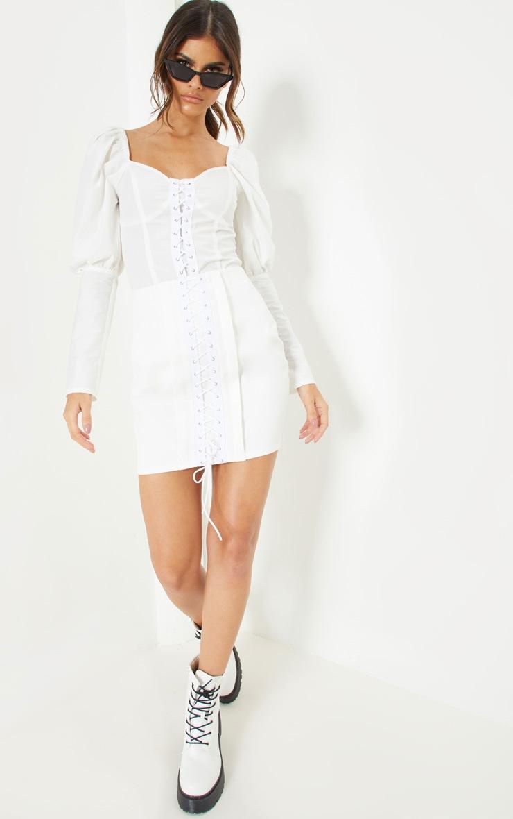 White Lace Up Detail Mini Skirt 5