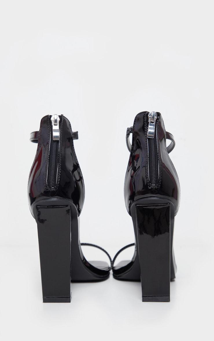 Black Square Toe High Block Heel Sandal 4