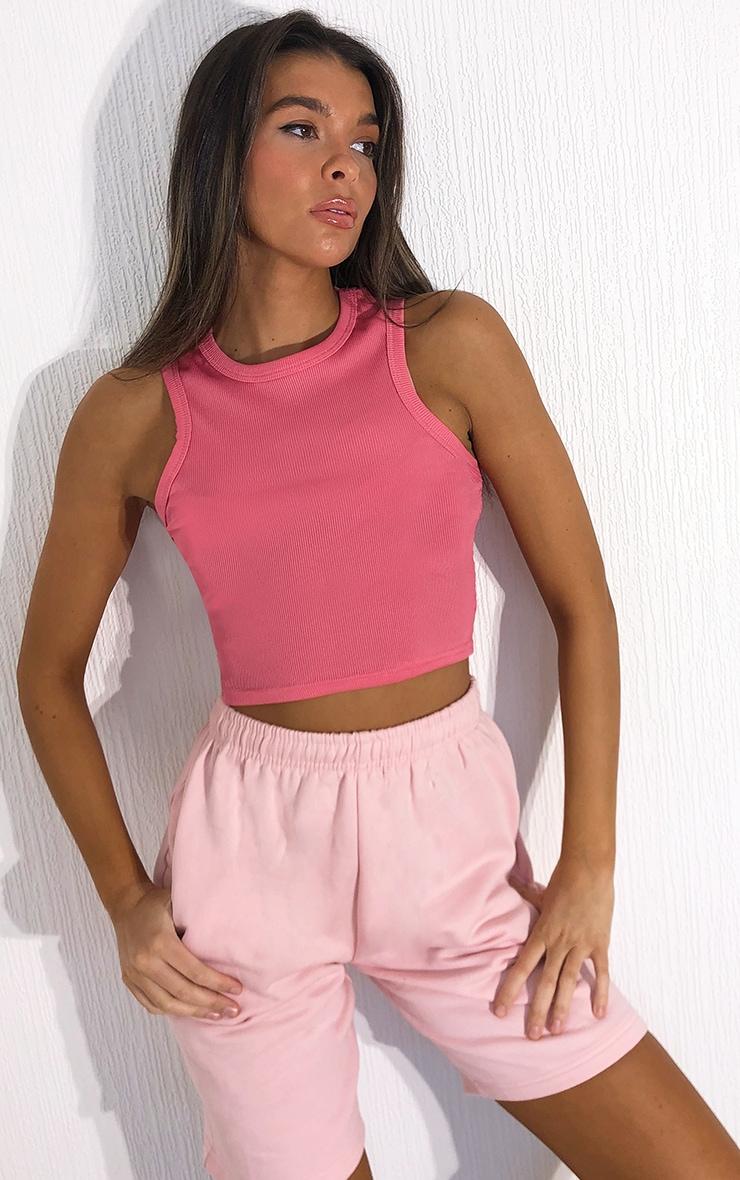 Candy Pink Rib Racer Neck Vest 1
