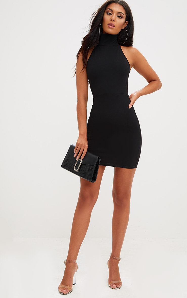 Black Lace Up Back Extreme High Neck Detail Bodycon Dress 4