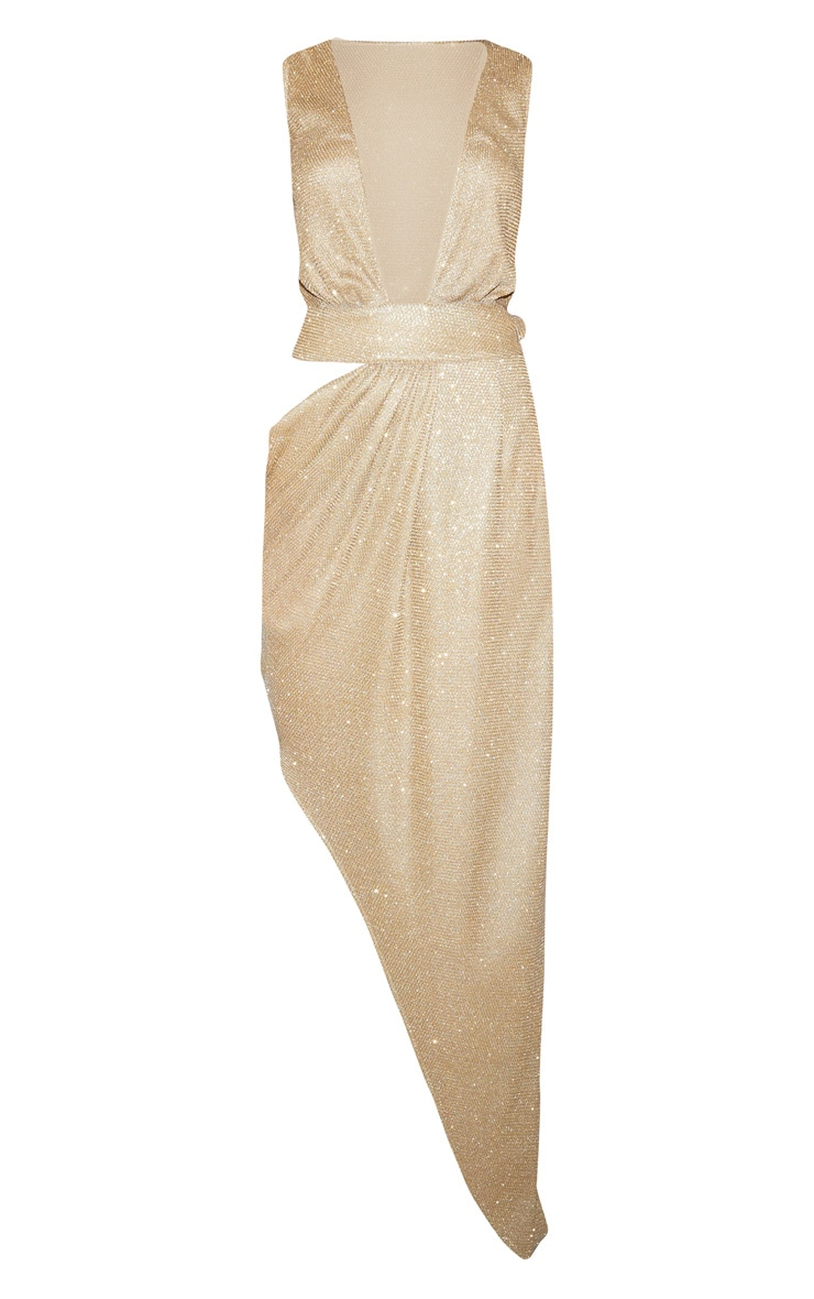 Gold Metallic Knit Asymmetric Cut Out Maxi Dress 5