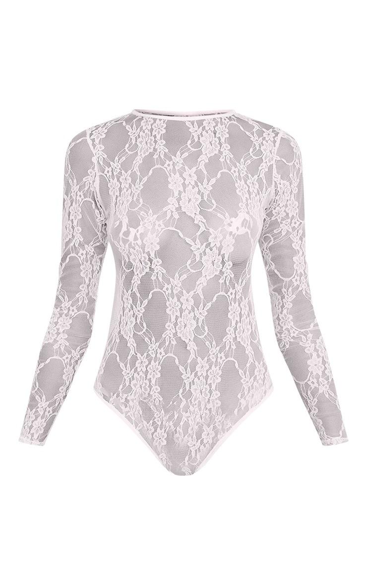 Blaeke White Lace Longsleeve Thong Bodysuit 3