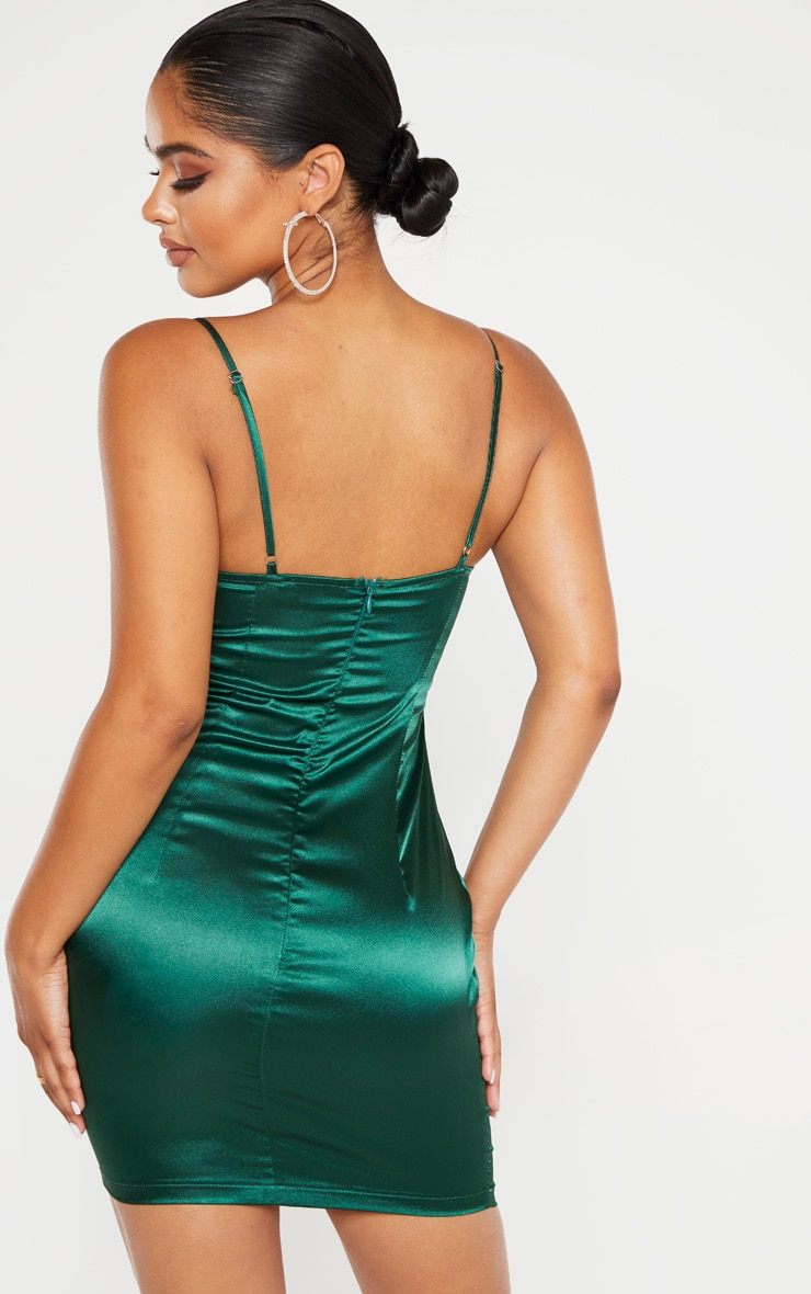 Petite Emerald Green Satin Strappy Straight Neck Bodycon Dress  2