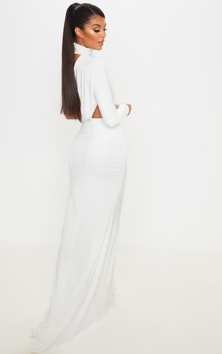 White Ruched One Shoulder Maxi Dress 2