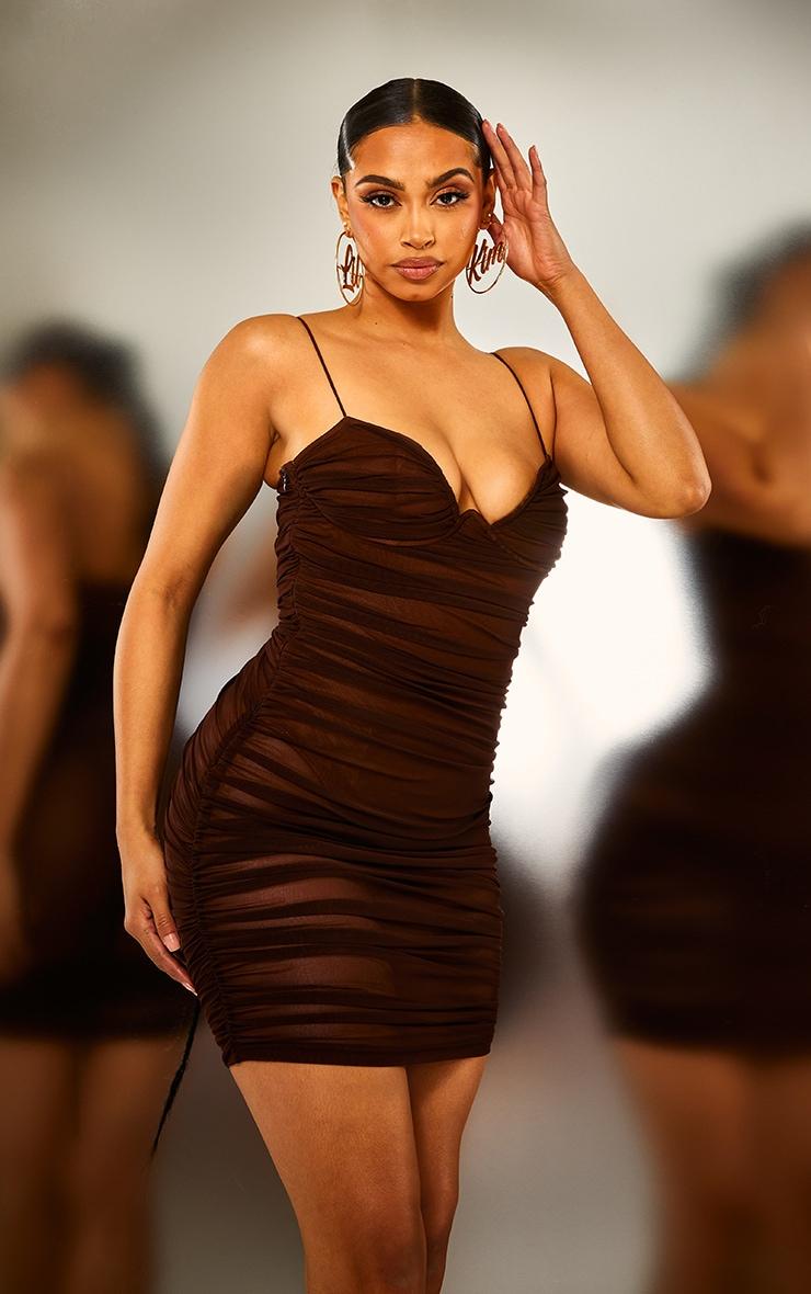 Brown Ruched Mesh Underwire Bodycon Dress 2