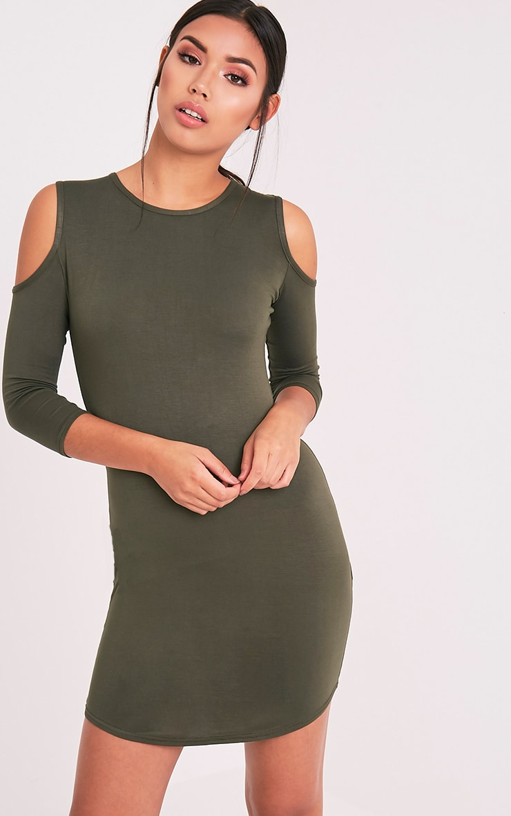 Maysie Khaki Cold Shoulder Curved Hem Bodycon Dress 1