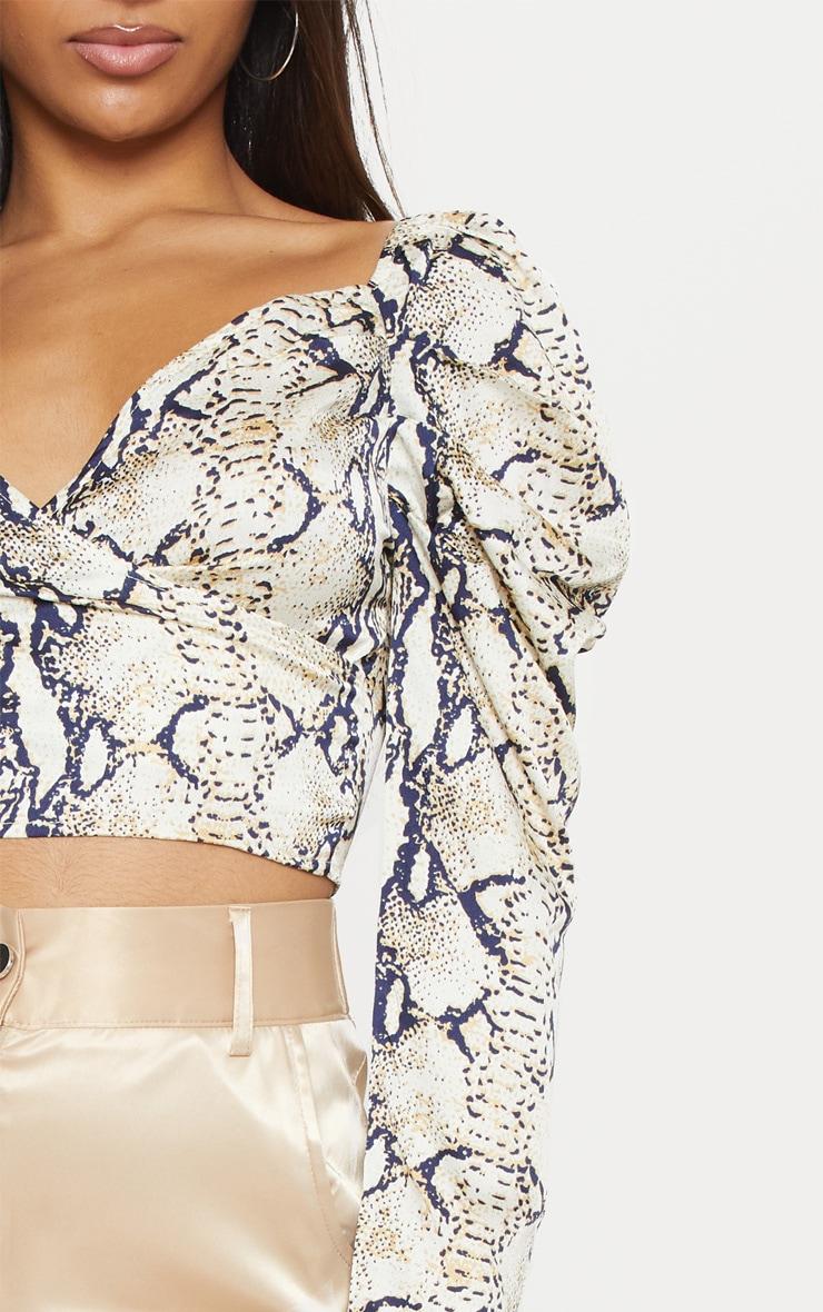 Stone Snake Print Puff Sleeve Crop Shirt 5