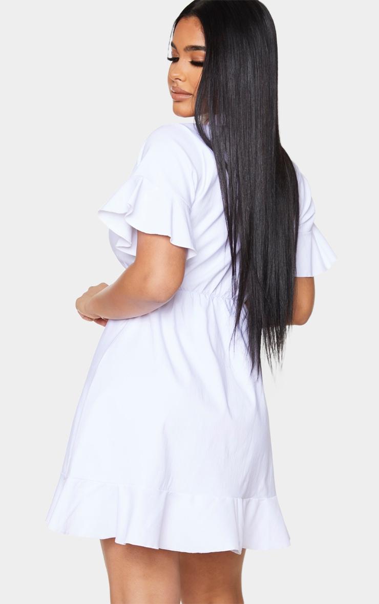 Petite - Robe blouse blanche à volants et décolleté 2
