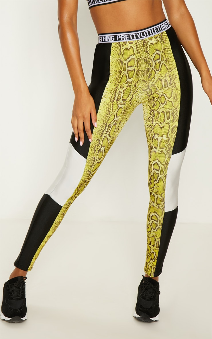 PRETTYLITTLETHING Lime Snake Leggings 2