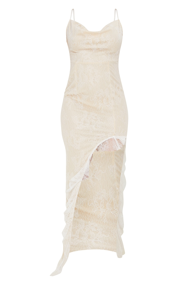 White Lace Ruched Bum Strappy Maxi Dress 5