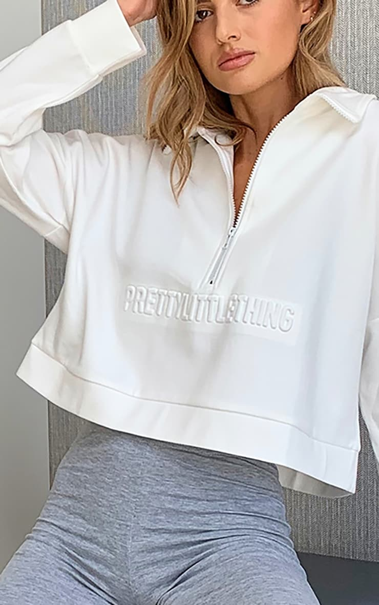 PRETTYLITTLETHING White Embossed Sports Collared Sweat Top 4