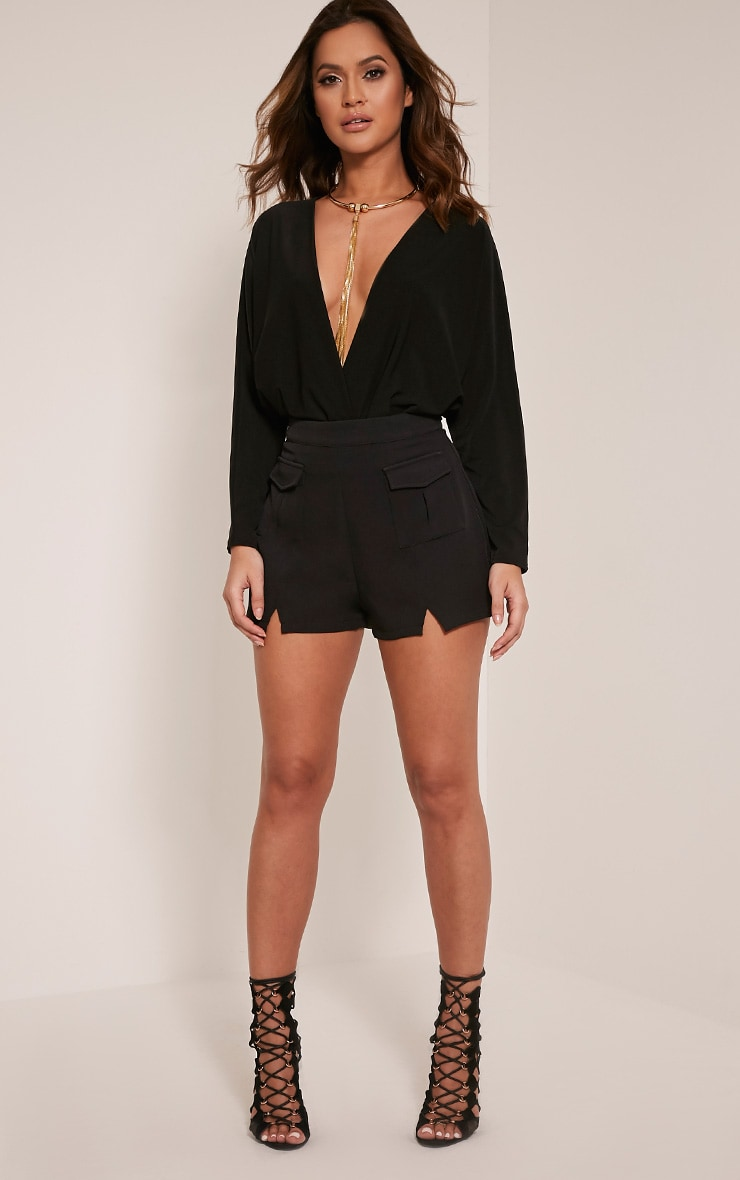 Adelle Black Long Sleeve Deep Plunge Bodysuit 4