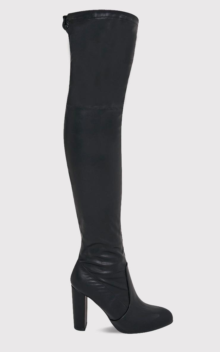 Bess bottes cuissardes à talons imitation cuir noires 1