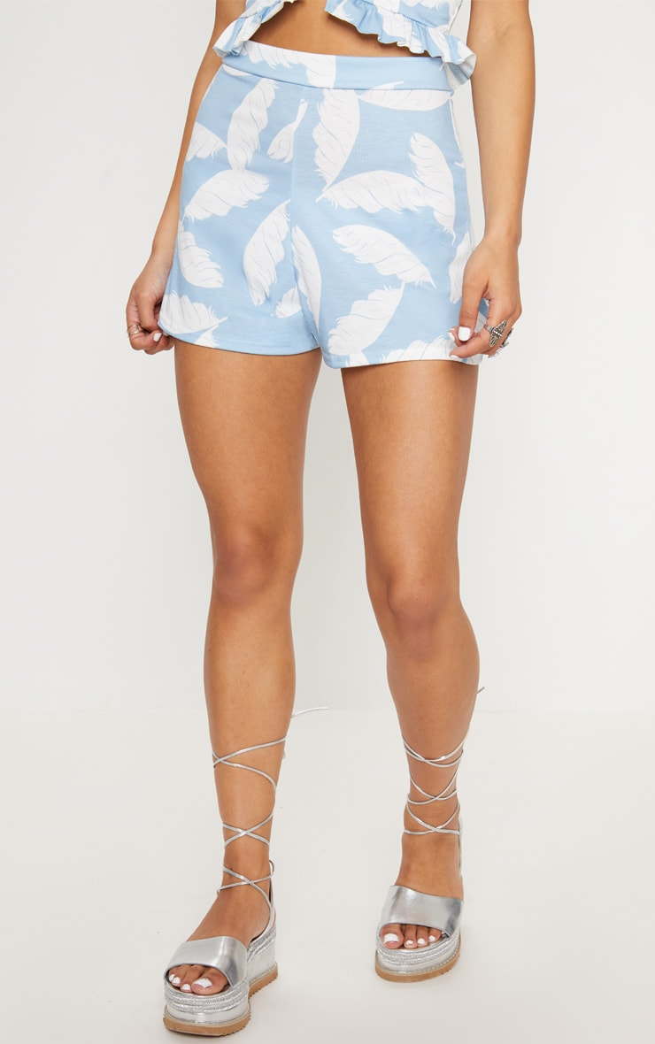 Dusty Blue Palm Print High Waisted Shorts 2