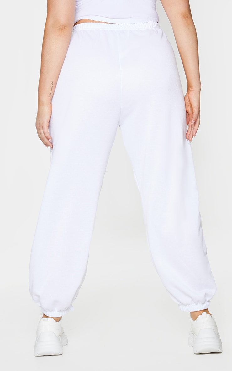 Plus White Basic Cuffed Hem Joggers 3