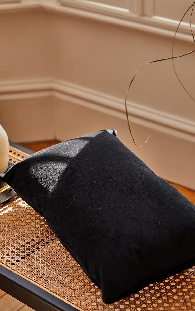Black Rectangle Velvet Filled Cushion 3