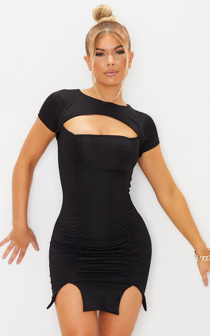 Black Slinky Cut Out Ruched Split Hem Bodycon Dress 1