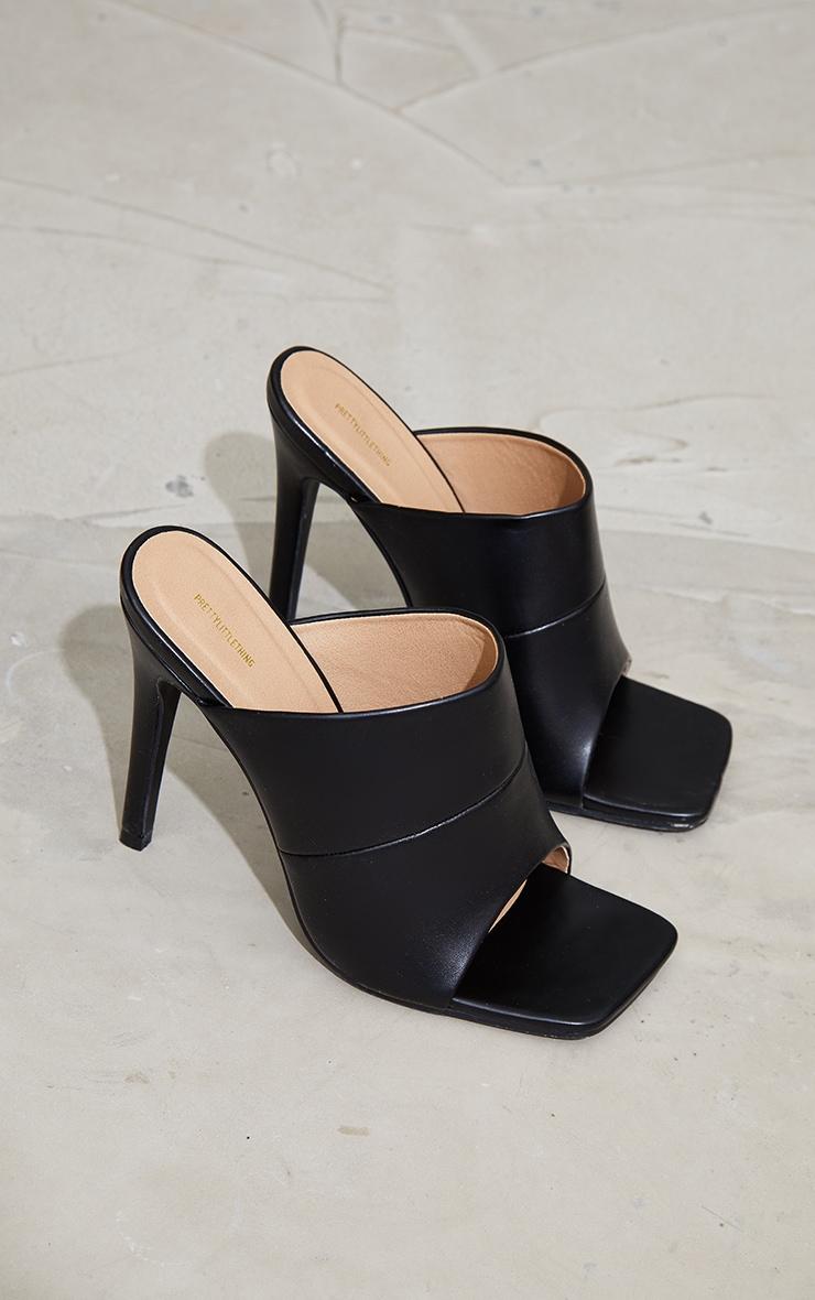 Black Square Toe High Mule Heels 3
