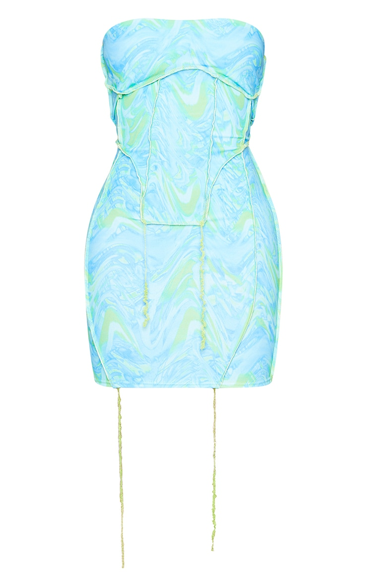 Shape Blue Wave Print Overlock Seam Corset Detail Bodycon Dress 5