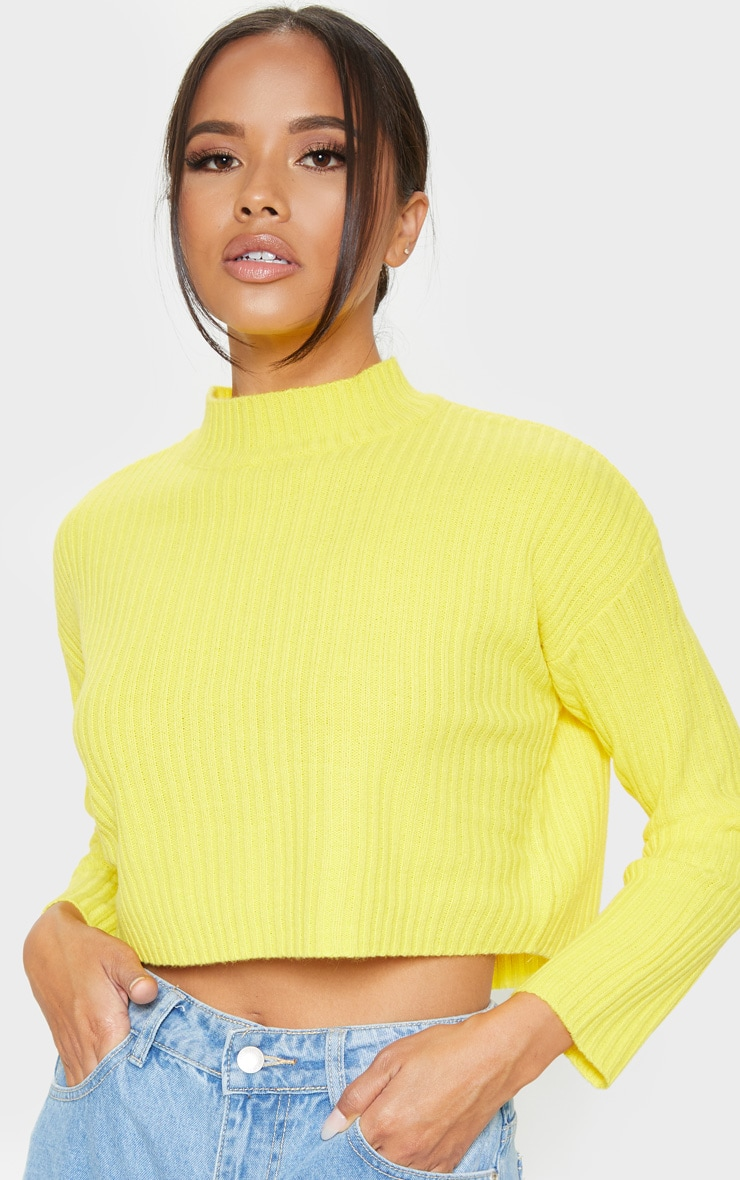 Yellow Cropped Ribbed Knitted Jumper  5