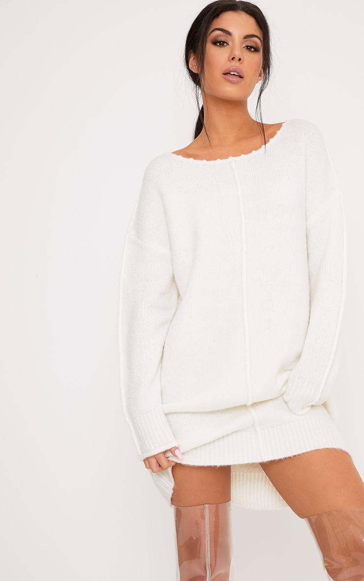 Selah Cream Oversized Seam Detail Brushed Jumper Dress 1