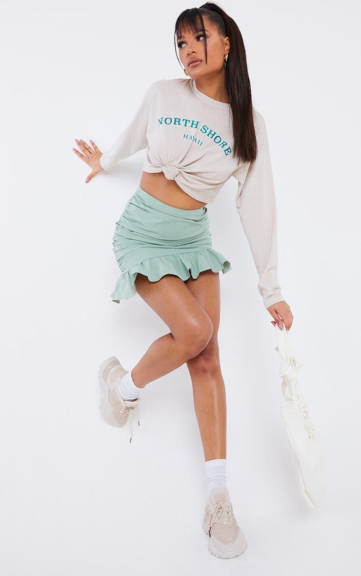Sage Green Woven Asymmetric Frill Hem Mini Skirt 1